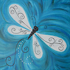 Kids canvas painting event - Dragonfly Drifting By