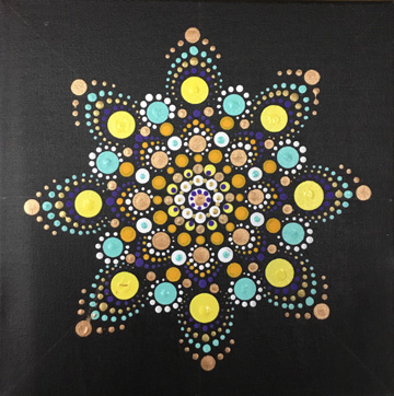 Mandala Dot Art With Aran Pottery Canvas Painting Glass Fusing